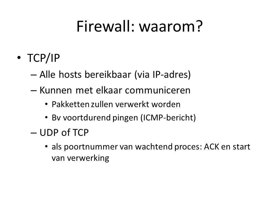 Firewall: waarom TCP/IP Alle hosts bereikbaar (via IP-adres)