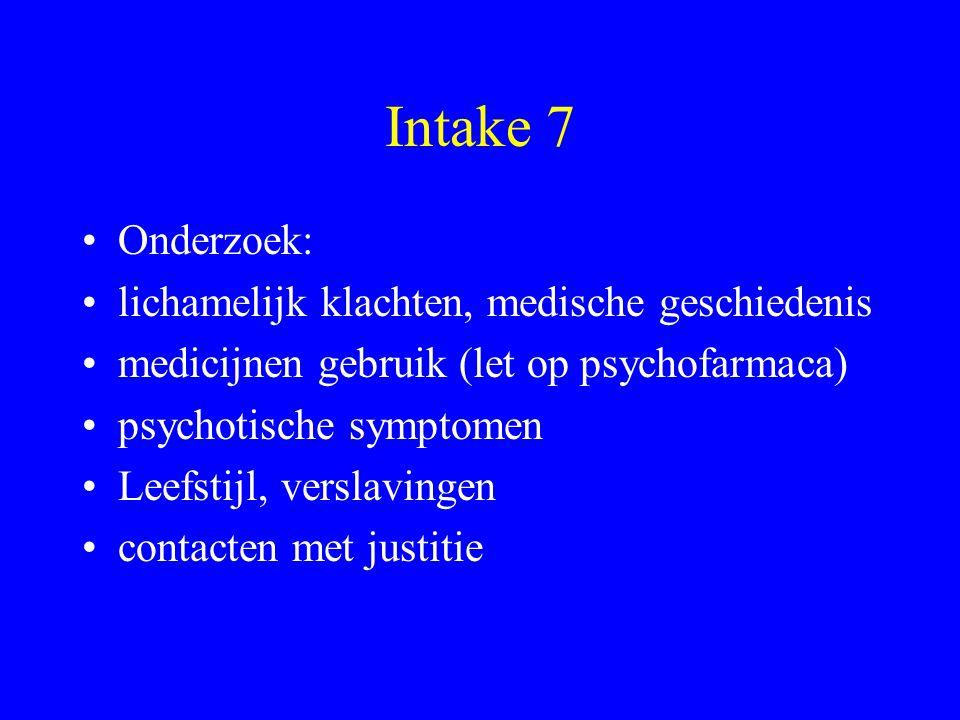 Intake 7 Onderzoek: lichamelijk klachten, medische geschiedenis