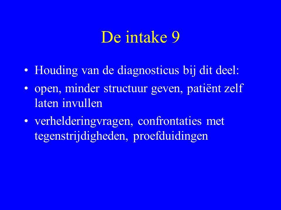 De intake 9 Houding van de diagnosticus bij dit deel: