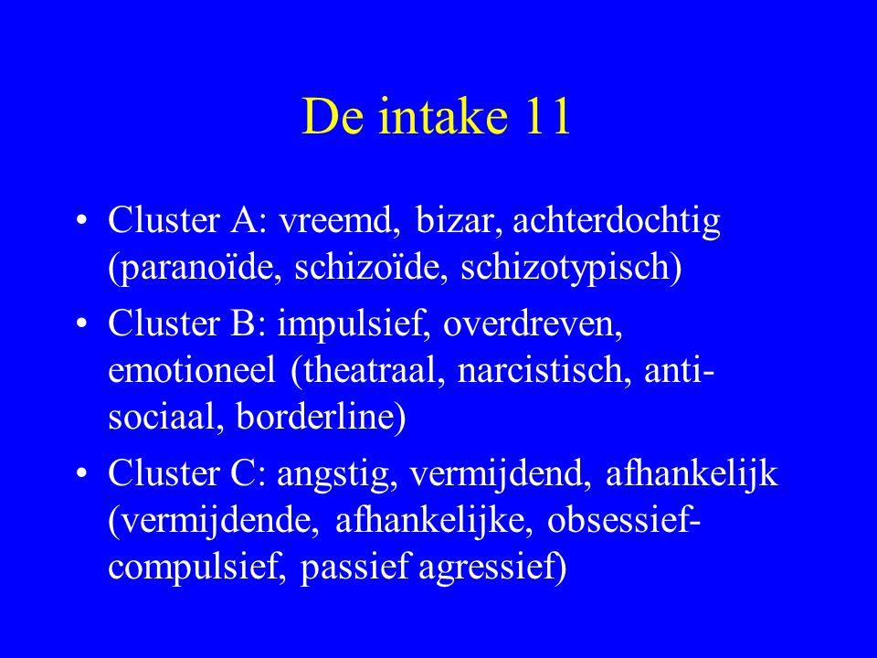 De intake 11 Cluster A: vreemd, bizar, achterdochtig (paranoïde, schizoïde, schizotypisch)