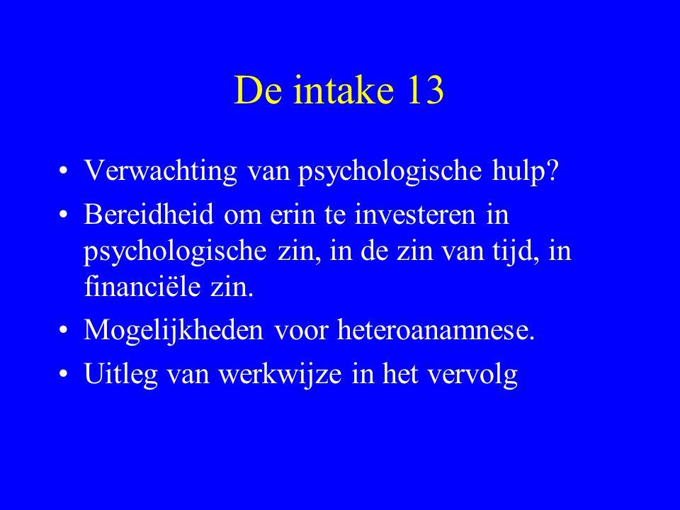 De intake 13 Verwachting van psychologische hulp