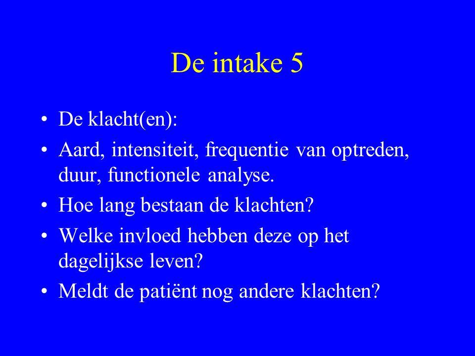 De intake 5 De klacht(en):