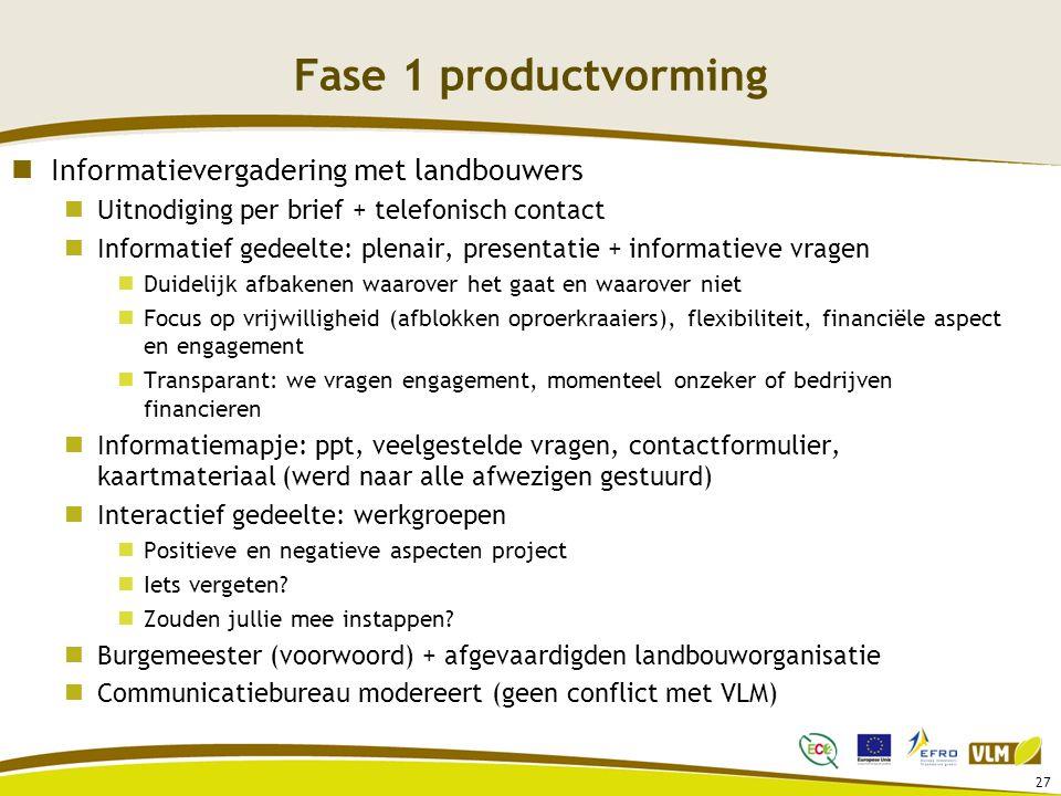 Fase 1 productvorming Informatievergadering met landbouwers