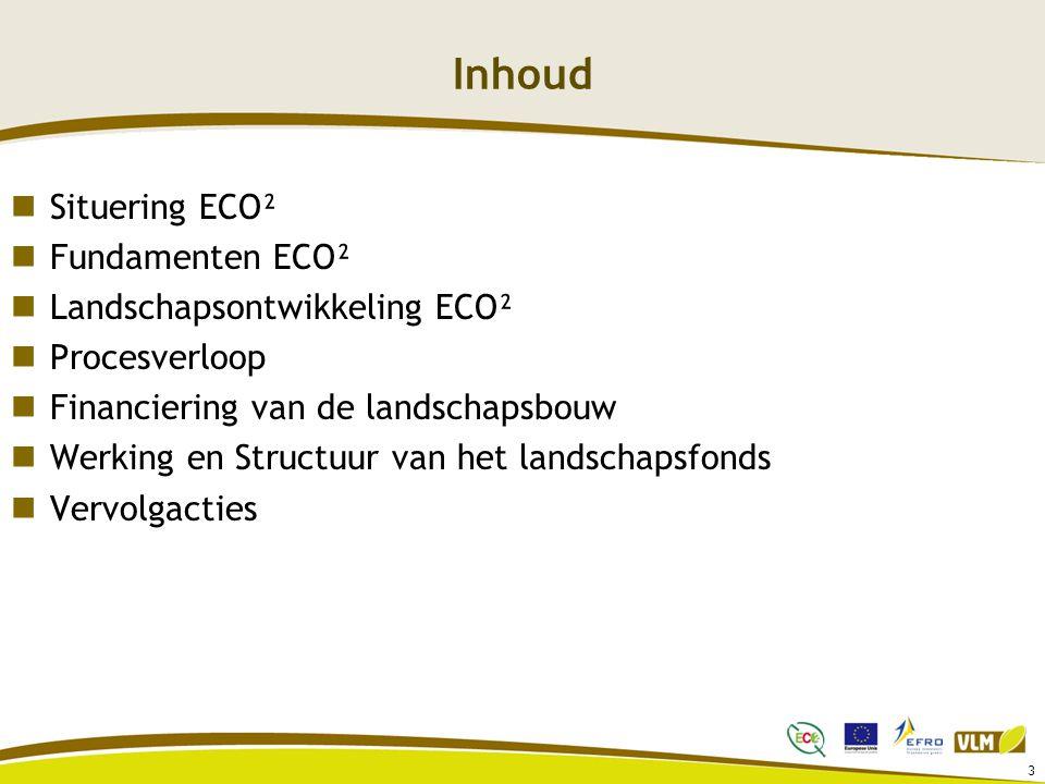 Inhoud Situering ECO² Fundamenten ECO² Landschapsontwikkeling ECO²