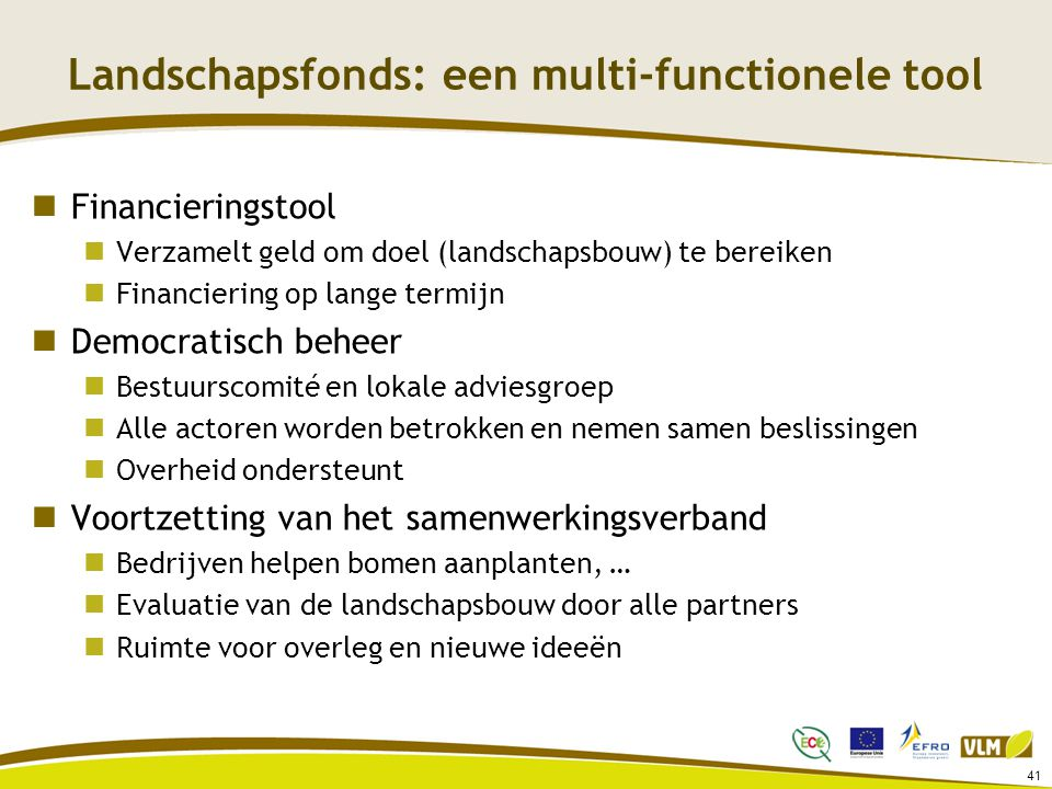 Landschapsfonds: een multi-functionele tool
