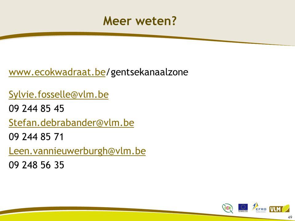 Meer weten www.ecokwadraat.be/gentsekanaalzone Sylvie.fosselle@vlm.be