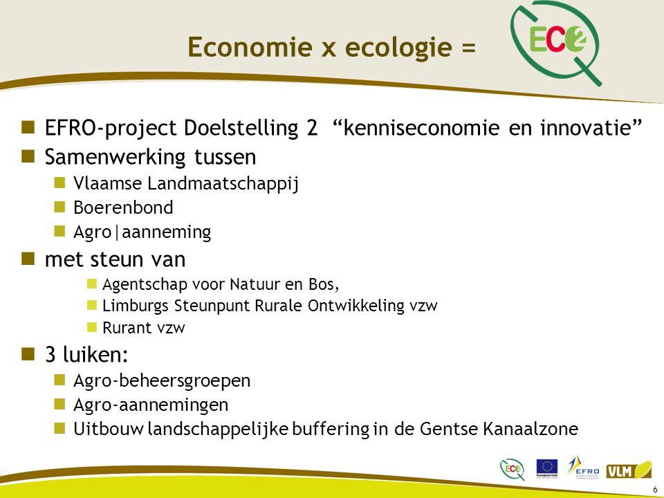 Economie x ecologie = EFRO-project Doelstelling 2 kenniseconomie en innovatie Samenwerking tussen.