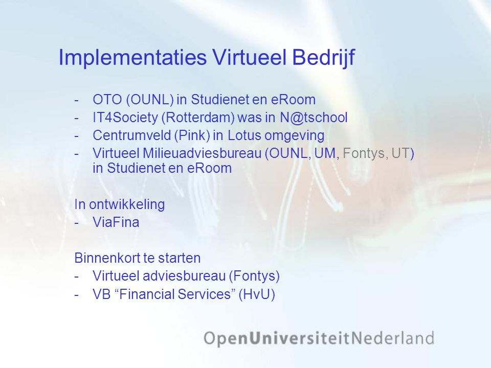 Implementaties Virtueel Bedrijf