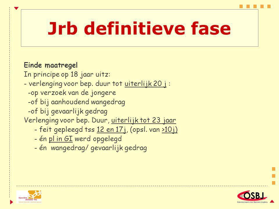 Jrb definitieve fase Einde maatregel In principe op 18 jaar uitz: