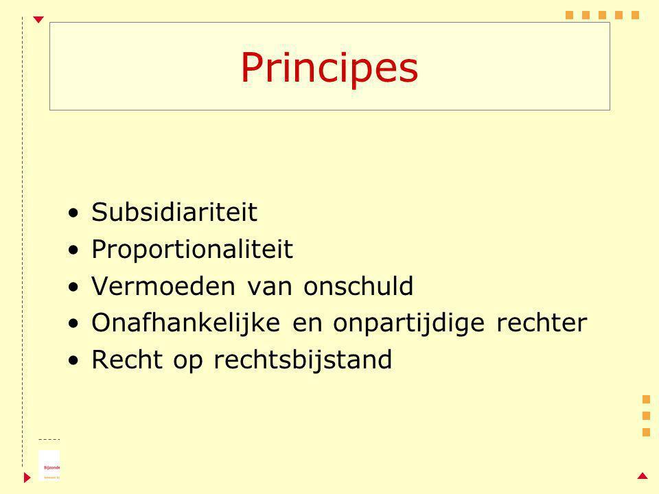 Principes Subsidiariteit Proportionaliteit Vermoeden van onschuld