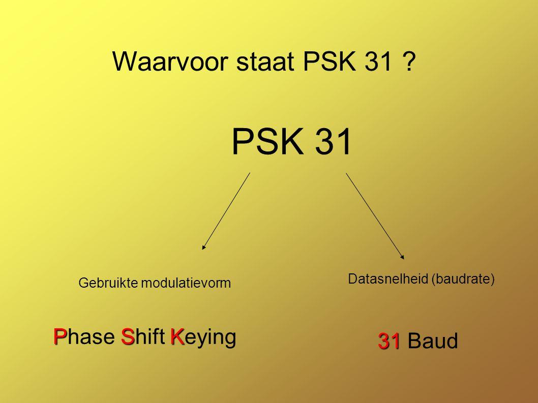 PSK 31 Waarvoor staat PSK 31 Phase Shift Keying 31 Baud