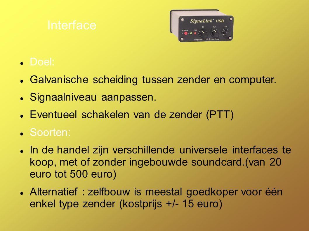 Interface Doel: Galvanische scheiding tussen zender en computer.