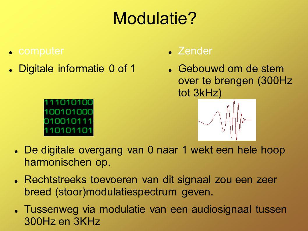 Modulatie computer Digitale informatie 0 of 1 Zender