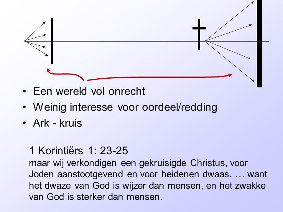 Een wereld vol onrecht Weinig interesse voor oordeel/redding. Ark - kruis.