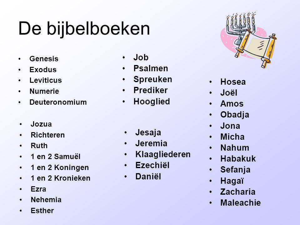 De bijbelboeken Job Psalmen Spreuken Prediker Hooglied Hosea Joël Amos