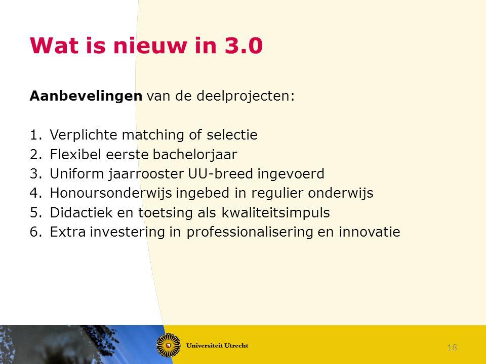 Wat is nieuw in 3.0 Aanbevelingen van de deelprojecten: