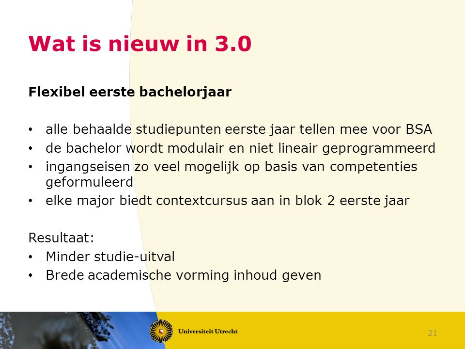 Wat is nieuw in 3.0 Flexibel eerste bachelorjaar