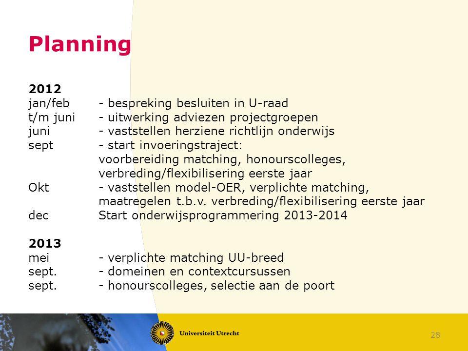 Planning 2012 jan/feb - bespreking besluiten in U-raad