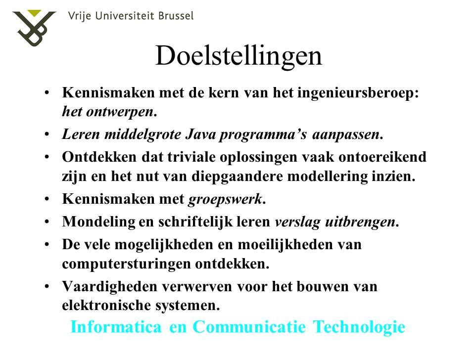 Doelstellingen Kennismaken met de kern van het ingenieursberoep: het ontwerpen. Leren middelgrote Java programma's aanpassen.