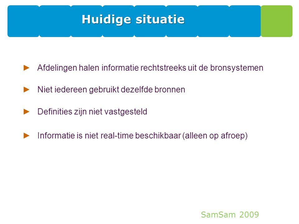 Huidige situatie Afdelingen halen informatie rechtstreeks uit de bronsystemen. Niet iedereen gebruikt dezelfde bronnen.