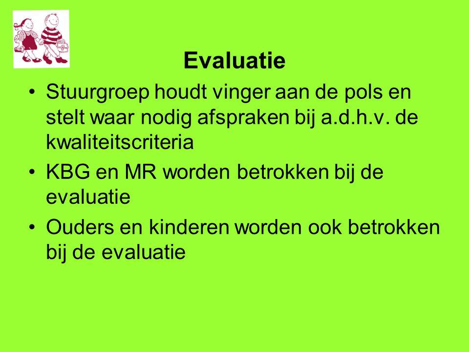 Evaluatie Stuurgroep houdt vinger aan de pols en stelt waar nodig afspraken bij a.d.h.v. de kwaliteitscriteria.