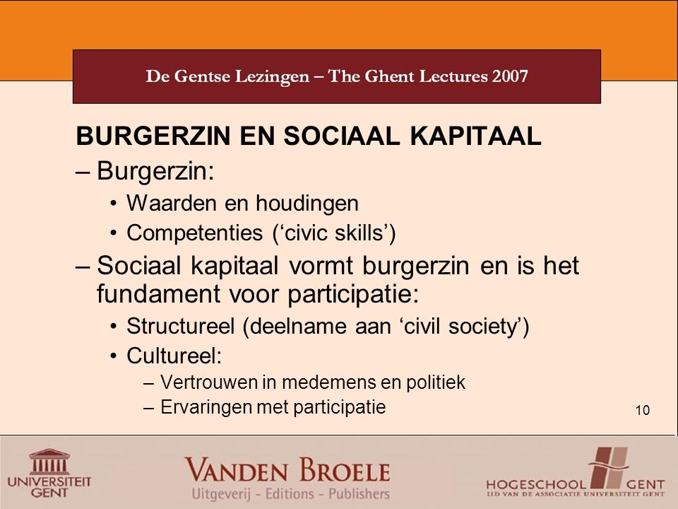 BURGERZIN EN SOCIAAL KAPITAAL Burgerzin:
