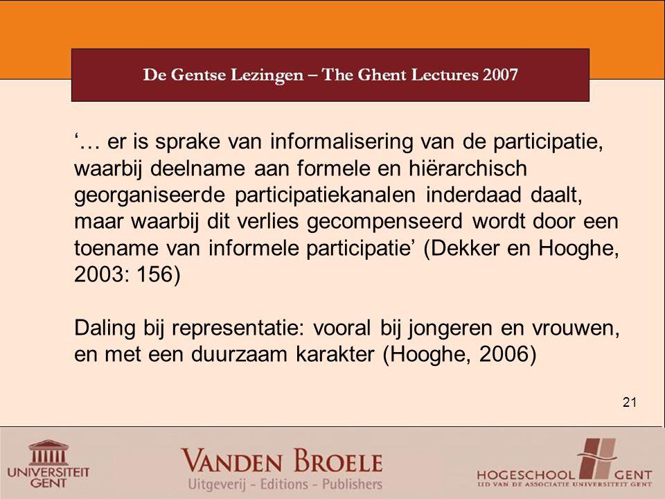 '… er is sprake van informalisering van de participatie, waarbij deelname aan formele en hiërarchisch georganiseerde participatiekanalen inderdaad daalt, maar waarbij dit verlies gecompenseerd wordt door een toename van informele participatie' (Dekker en Hooghe, 2003: 156)