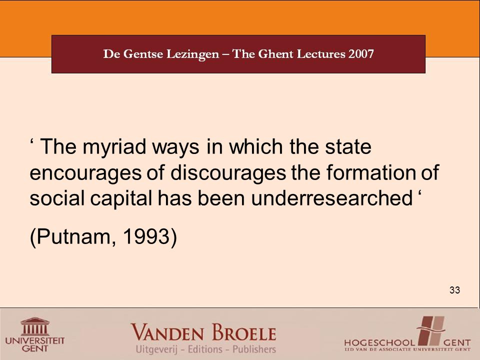 ' The myriad ways in which the state encourages of discourages the formation of social capital has been underresearched '
