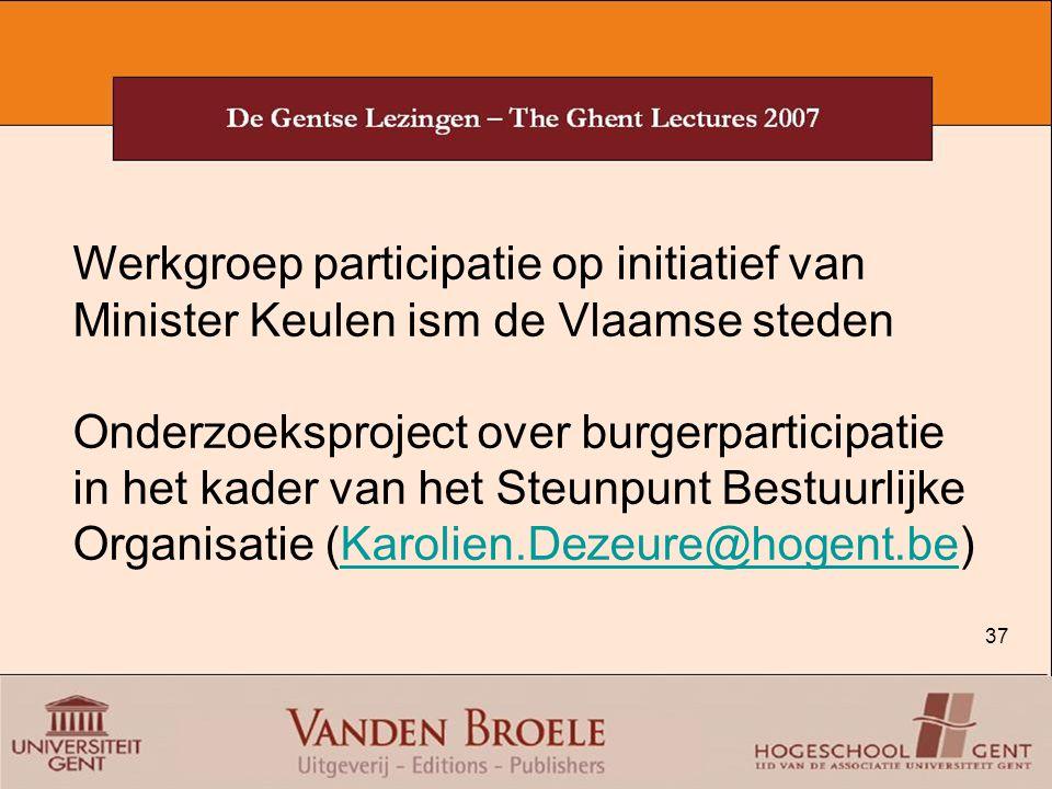 Werkgroep participatie op initiatief van Minister Keulen ism de Vlaamse steden