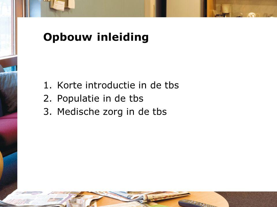 Opbouw inleiding Korte introductie in de tbs Populatie in de tbs