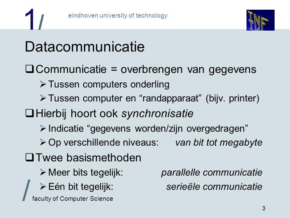Datacommunicatie Communicatie = overbrengen van gegevens