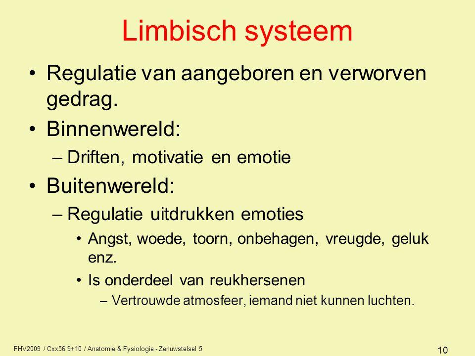Limbisch systeem Regulatie van aangeboren en verworven gedrag.