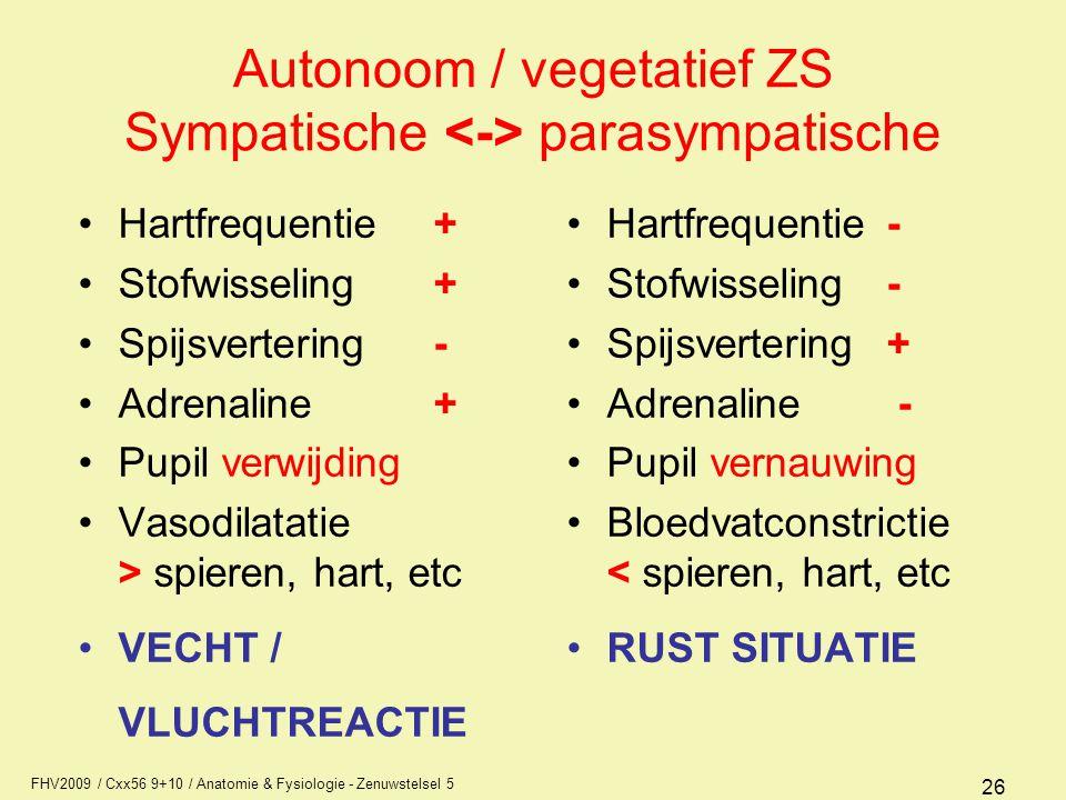 Autonoom / vegetatief ZS Sympatische <-> parasympatische