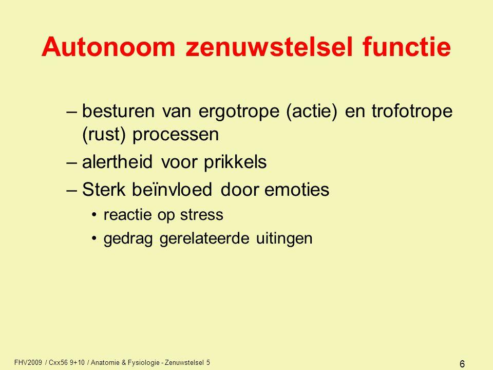 Autonoom zenuwstelsel functie