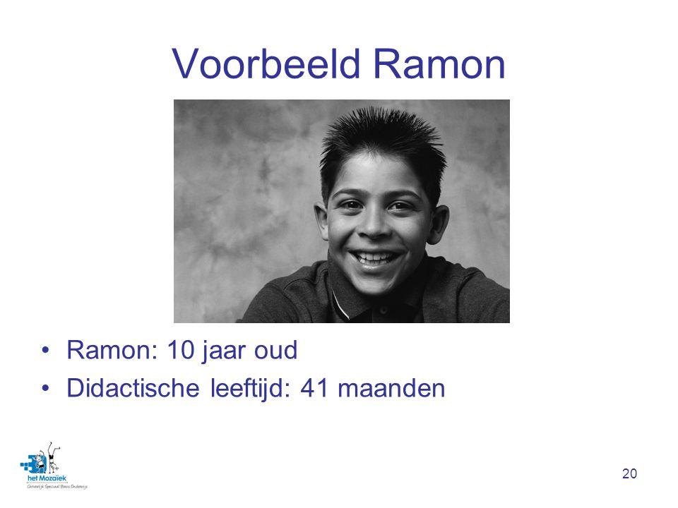 Voorbeeld Ramon Ramon: 10 jaar oud Didactische leeftijd: 41 maanden