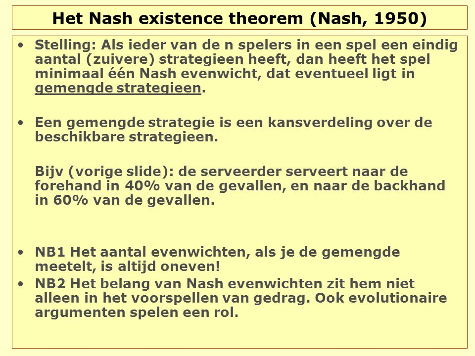 Het Nash existence theorem (Nash, 1950)