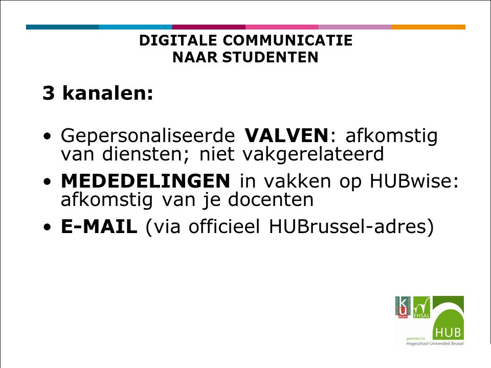 DIGITALE COMMUNICATIE NAAR STUDENTEN
