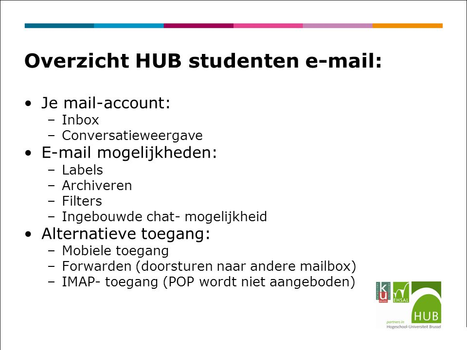 Overzicht HUB studenten e-mail: