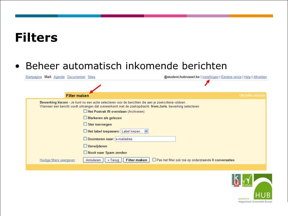 Filters Beheer automatisch inkomende berichten