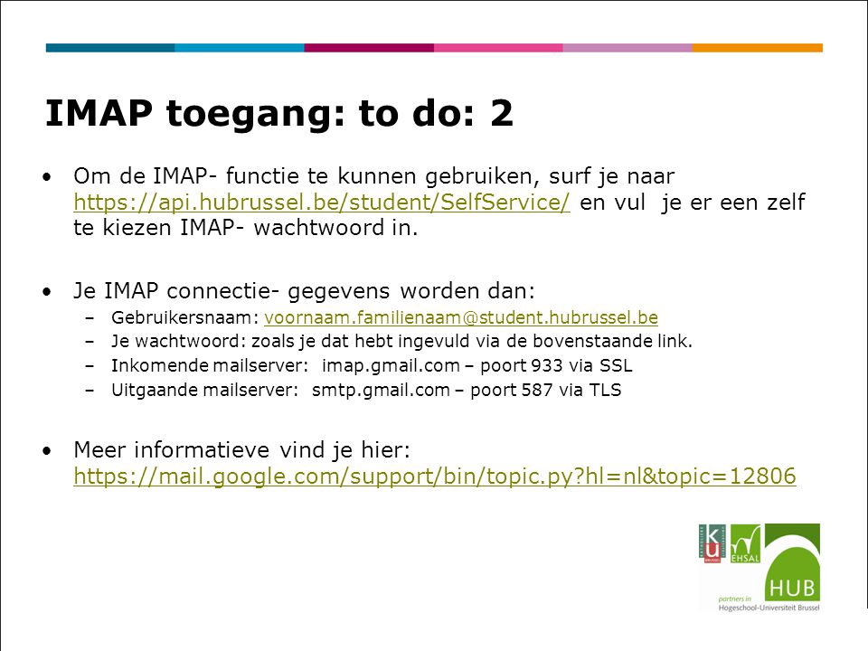 IMAP toegang: to do: 2