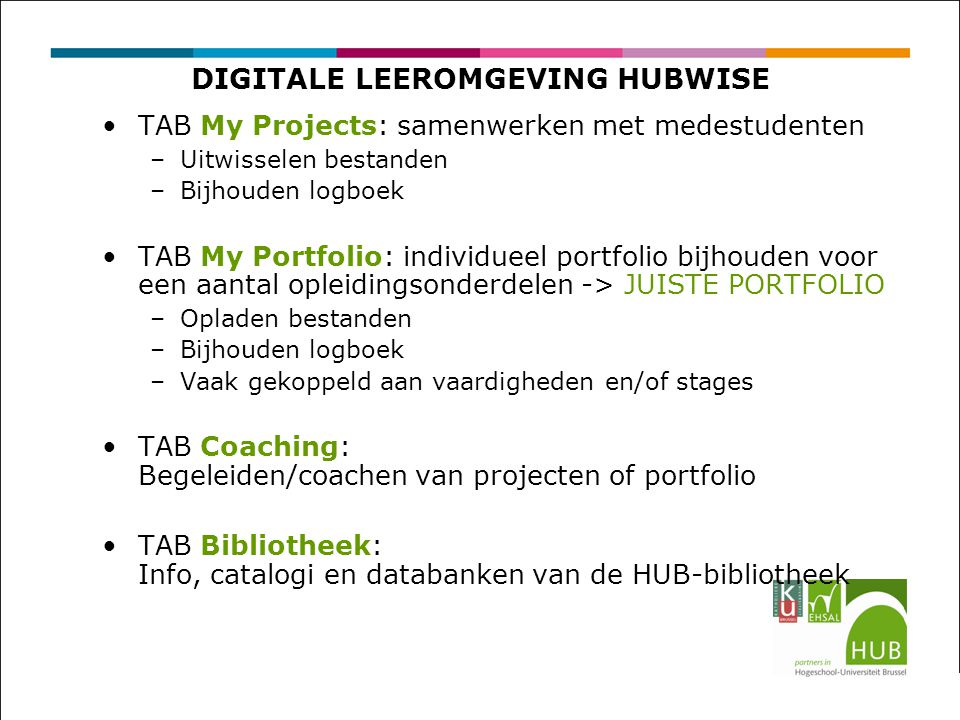 DIGITALE LEEROMGEVING HUBWISE