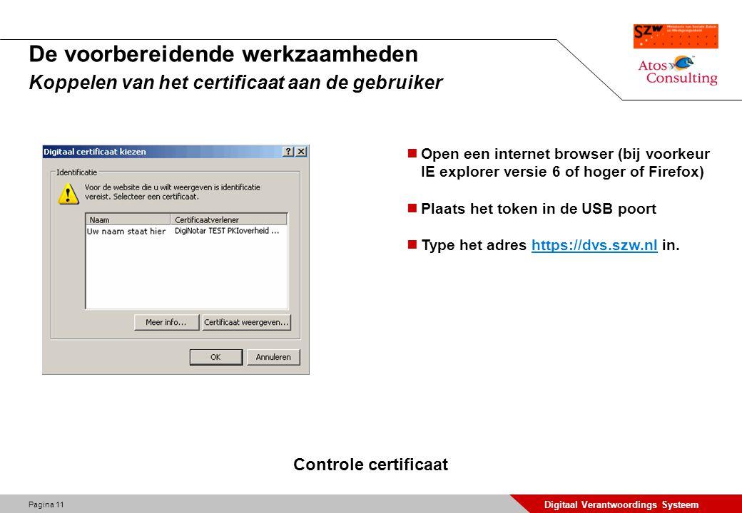 De voorbereidende werkzaamheden Koppelen van het certificaat aan de gebruiker
