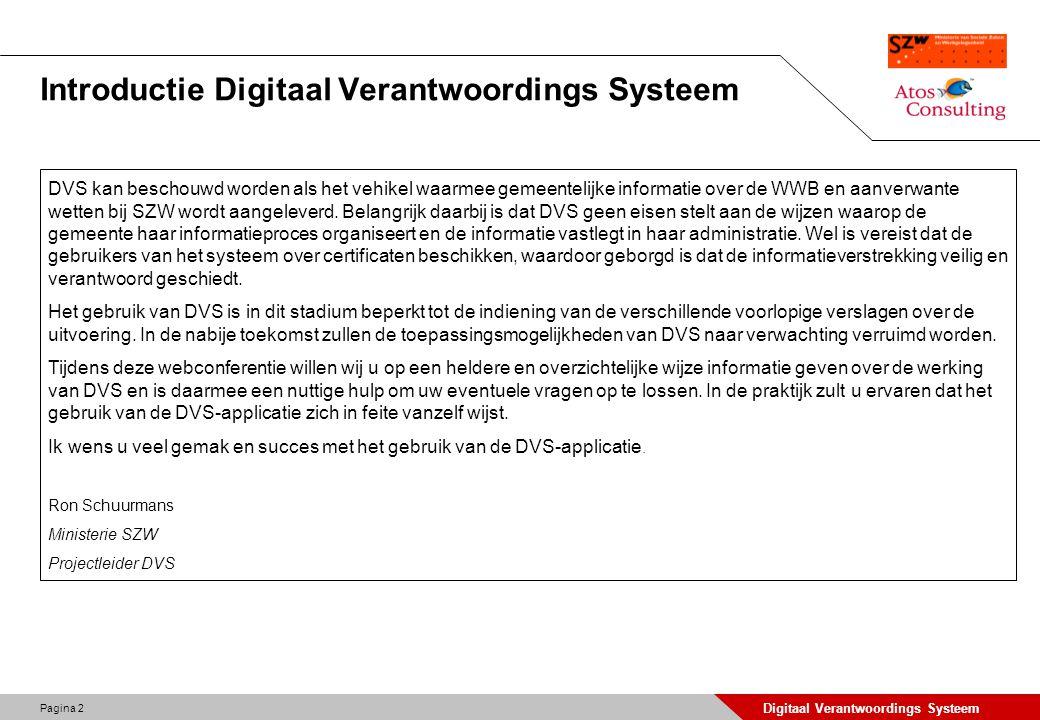 Introductie Digitaal Verantwoordings Systeem