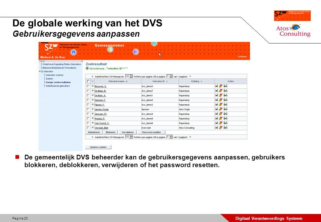 De globale werking van het DVS Gebruikersgegevens aanpassen
