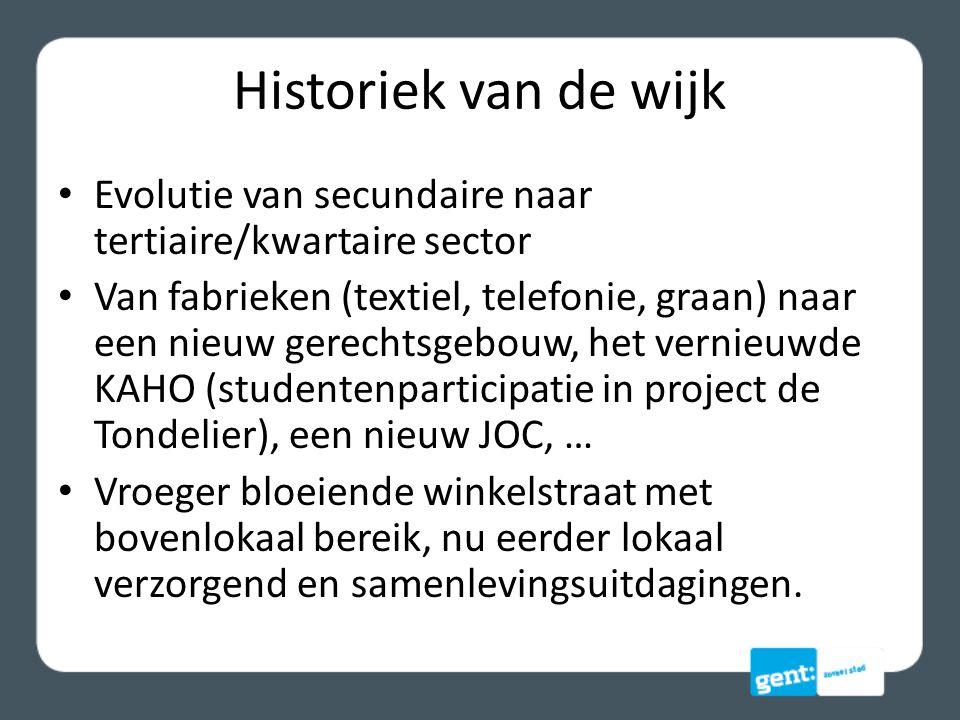 Historiek van de wijk Evolutie van secundaire naar tertiaire/kwartaire sector.