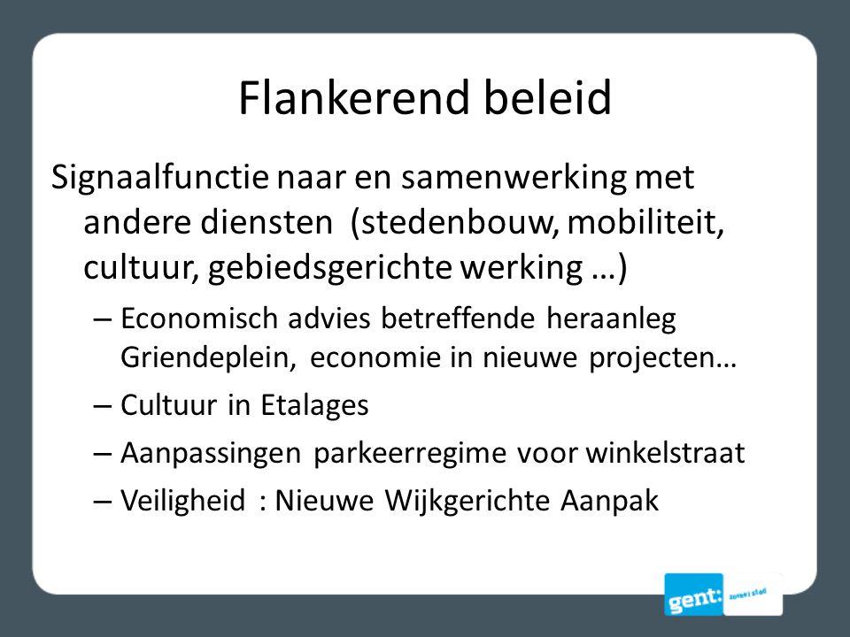 Flankerend beleid Signaalfunctie naar en samenwerking met andere diensten (stedenbouw, mobiliteit, cultuur, gebiedsgerichte werking …)