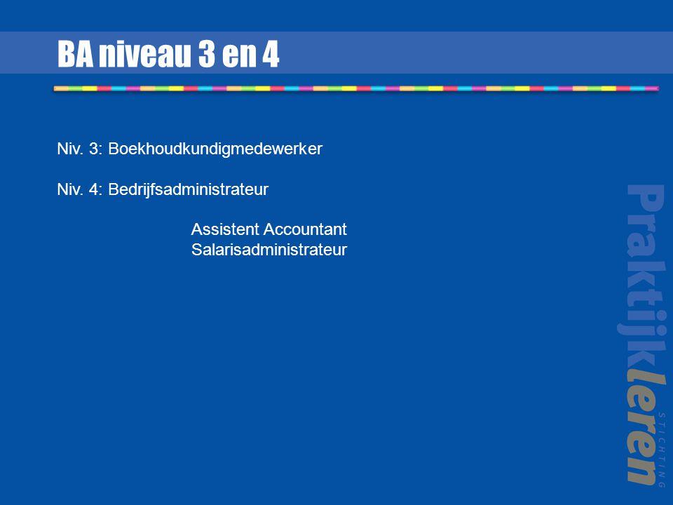 BA niveau 3 en 4 Niv. 3: Boekhoudkundigmedewerker