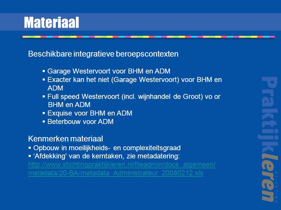Materiaal Beschikbare integratieve beroepscontexten