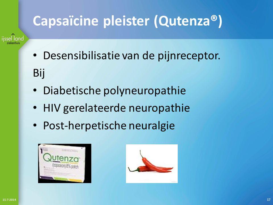 Capsaïcine pleister (Qutenza®)