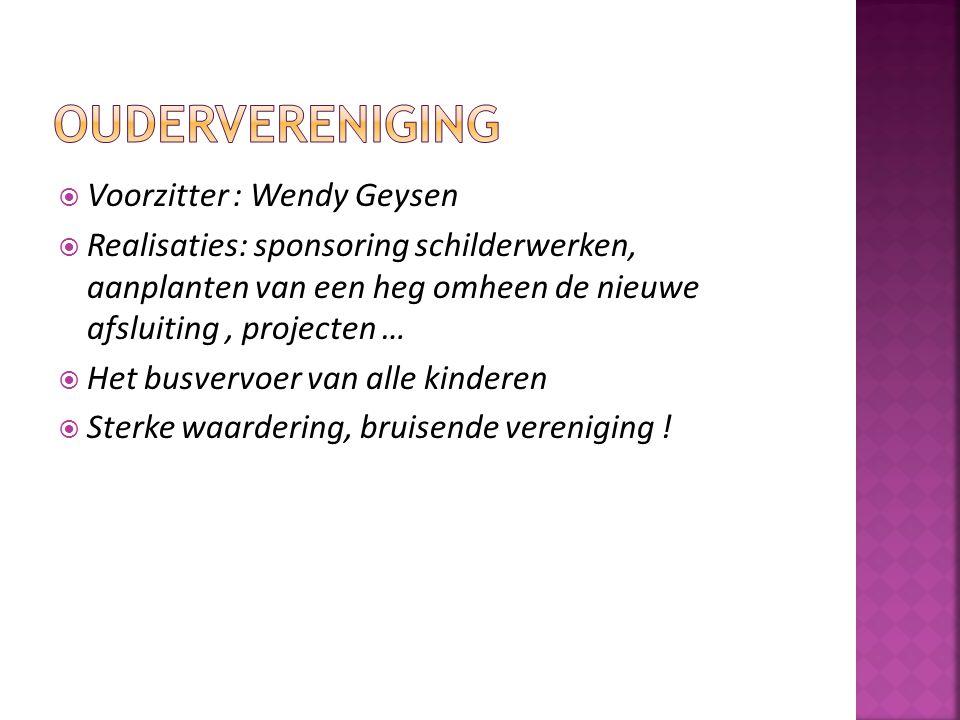 Oudervereniging Voorzitter : Wendy Geysen
